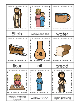 Elijah and the Widow 3 Part Matching printable game. Presc