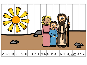 Elijah and the Widow A-Z Sequence Puzzle printable game. P