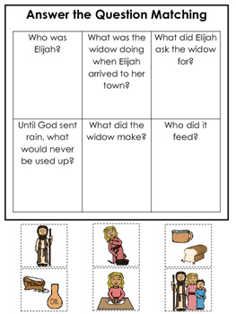 Elijah and the Widow Answer the Question printable game. P