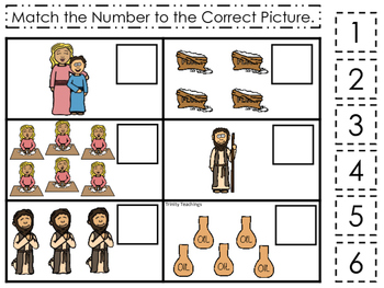 Elijah and the Widow Match the Number printable game. Pres