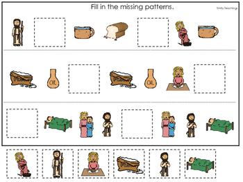 Elijah and the Widow Missing Pattern printable game. Presc