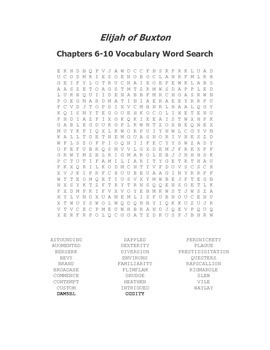 Elijah of Buxton Ch. 6-10 Vocabulary Word Search