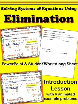 Elimination - Systems of Equations - PowerPoint  Introduct