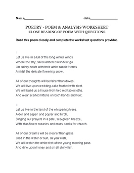 Elizabeth Bishop Poem - assignment, worksheet - poem plus