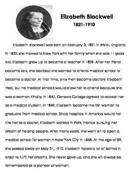 Elizabeth Blackwell Reading Passage and Timeline