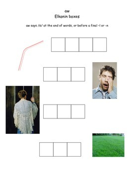 Elkonin Boxes Activity for Vowel Digraph aw