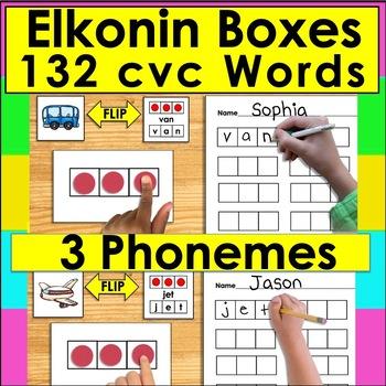 Elkonin Boxes CVC Segmenting Center Activities - 60 Self-C