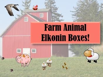 Phonemic Awareness Elkonin Boxes CVC Word Farm Animal Theme