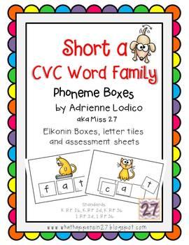 Elkonin boxes with Short a CVC word families CCSS ELA Foun