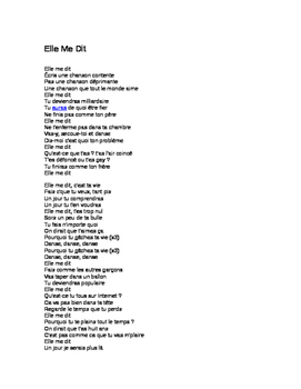 Elle me dit lyrics French & English