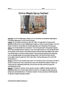 Elmira Maple Syrup Festival - Review Article Questions Voc