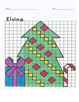 Eloina Christmas Tree Mystery Picture- Coordinate Plane Graph