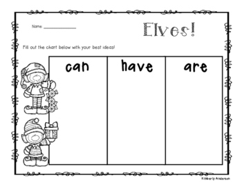 """Freebie: Elves - Christmas: """"Can - Have - Are"""" Chart"""