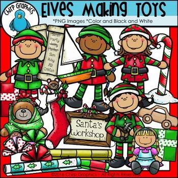 Elves Making Toys Clip Art Set - Chirp Graphics