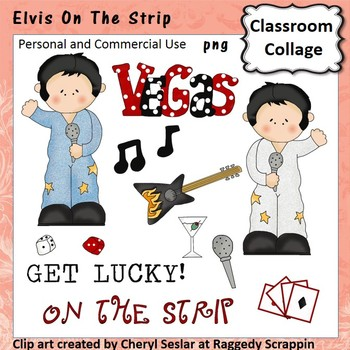 Elvis - Color - pers & comm Vegas dice guitar playing card