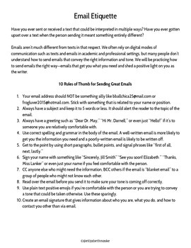 Email Etiquette Activity with Dos and Donts