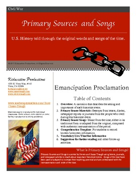 Emancipation Proclamation--Primary Sources and Songs--The