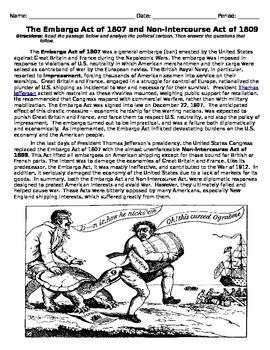 Embargo Act and Non-intercourse Acts Handout