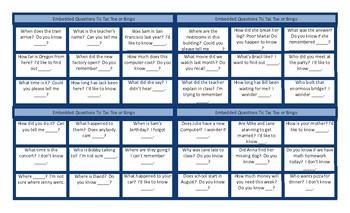 Embedded Questions Tic-Tac-Toe or Bingo