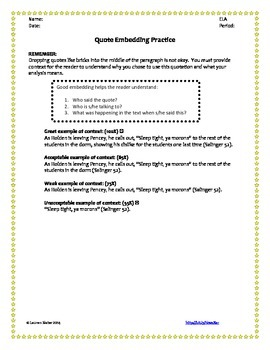 Embedding Quotations - Worksheet