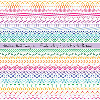 Clipart: Embroidered Border Patterns Clip Art