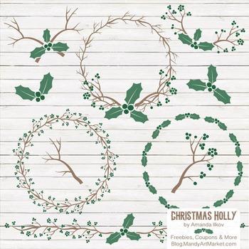 Emerald Christmas Holly Clipart