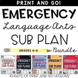 Emergency Language Arts Sub Plans BUNDLE for Grades 4-8
