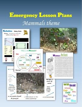 Emergency Lesson Plans:  Mammals theme
