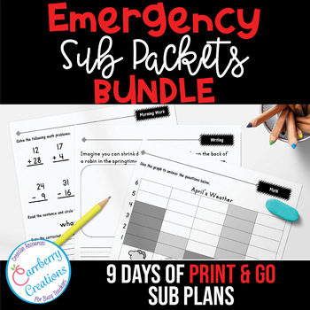 Emergency Sub Plans Packets BUNDLE - 9 Days of Ready To Go Plans