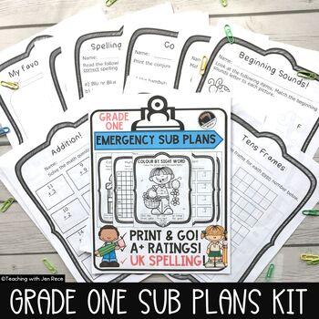 Emergency Sub Plan for Grade One: Math & ELA - Canada/Aust