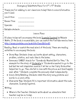 Emergency Substitute Plans for 2nd, 3rd, and 4th Grades -