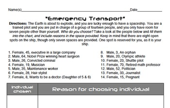 Emergency Transport: A Science Fiction Theme Activity