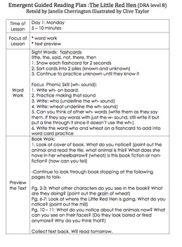 Emergent Guided Reading Plan: The Little Red Hen