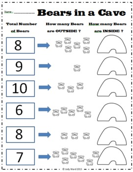 Emergent Number Worksheets & Activities - Bears in a Cave