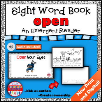 Sight Word Book Emergent Reader - OPEN