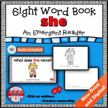 Sight Word Book Emergent Reader - SHE