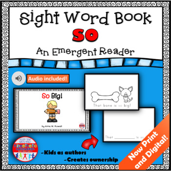 Sight Word Book Emergent Reader - SO