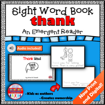 Sight Word Book Emergent Reader - THANK