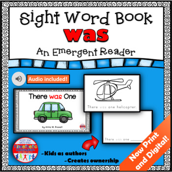 Sight Word Book Emergent Reader - WAS