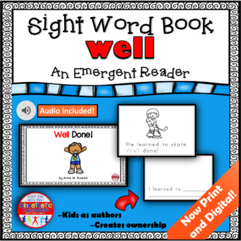 Sight Word Book Emergent Reader - WELL