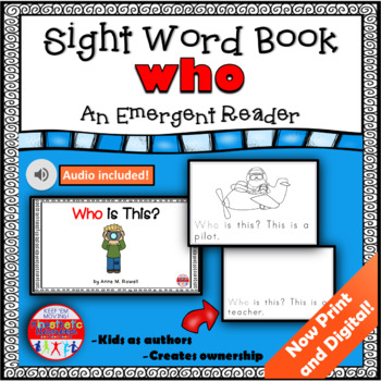Sight Word Book Emergent Reader - WHO