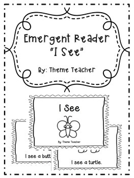 """Emergent Reader """"I see"""" Read and Color"""