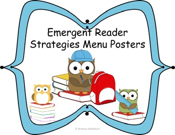 Emergent Reader Strategies Menu Posters