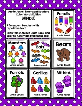 Emergent Readers for Beginning Readers BUNDLE with Color W