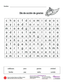 Emergent Reading Activity in Spanish: Día de acción de gracias