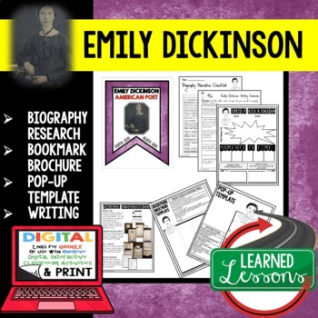 Emily Dickinson Biography Research, Bookmark, Pop-Up, Writing