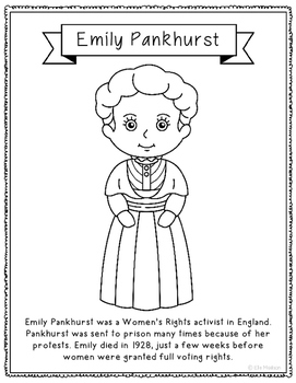 Emily Pankhurst Biography Coloring Page Activity or Poster