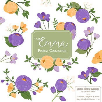 Emma Collection Floral Clipart & Vectors in Crocus - Flowe