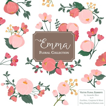 Emma Collection Floral Clipart & Vectors in Rose Garden -