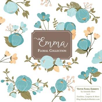 Emma Collection Floral Clipart & Vectors in Vintage Blue -